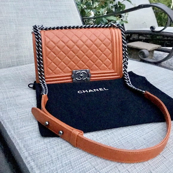 0dc4585c3657 CHANEL Bags | New Orange Calfskin Leather Medium Boy Bag | Poshmark